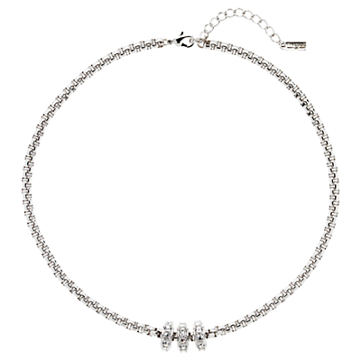 Finesse Rhodium Plated Swarovski Ring Necklace