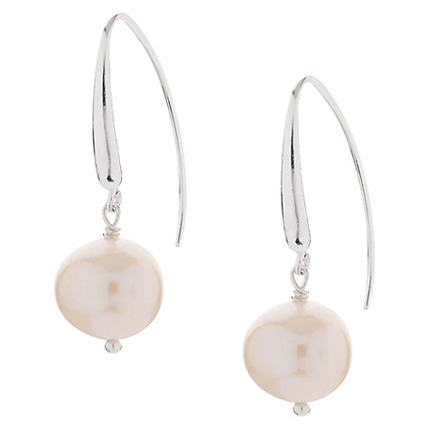 Buy Claudia Bradby Glamourous Freshwater Pearl Hook Earrings, White Online at johnlewis.com