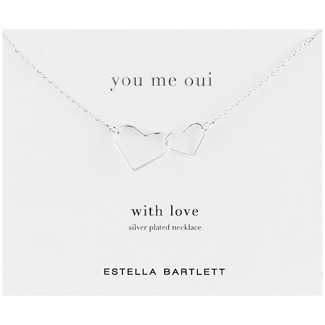 Buy Estella Bartlett You Me Oui Linked Hearts Pendant, Silver Online at johnlewis.com