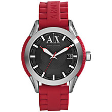Buy Armani Exchange AX1227 Men's Silicon Strap Watch, Red Online at johnlewis.com