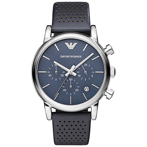 Buy Emporio Armani Men's Luigi Leather Strap Watch Online at johnlewis.com
