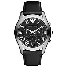 Buy Emporio Armani AR1700 Men's Valente Chronograph Leather Strap Watch, Black Online at johnlewis.com