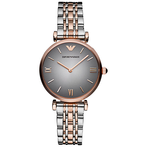 Buy Emporio Armani AR1725 Women's Gianni Two Tone Bracelet Strap Watch, Grey / Rose Gold Online at johnlewis.com