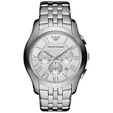 Buy Emporio Armani AR1702 Valente Men's Stainless Steel Chronograph Watch, Silver Online at johnlewis.com