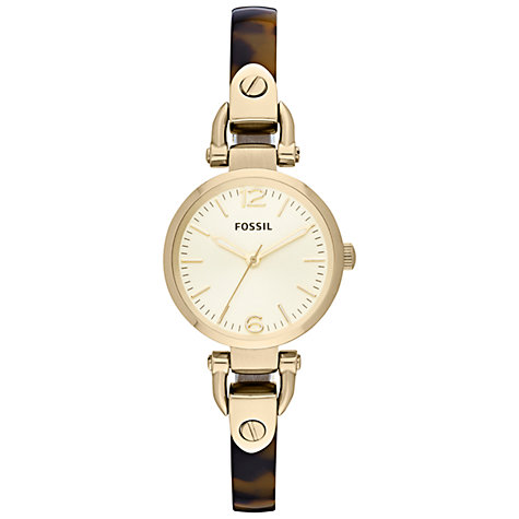 Buy Fossil ES3336 Women's Mini Georgia Half Bangle Tortoiseshell Strap Watch, Gold Online at johnlewis.com