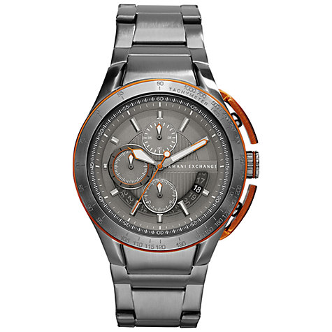 Buy Armani Exchange AX1405 Men's Chronograph Stainless Steel Bracelet Watch, Grey Online at johnlewis.com