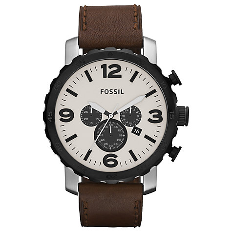 Buy Fossil JR1390 Men's Nate Two-Tone Steel Large Chronograph Watch, Brown Online at johnlewis.com