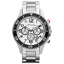 Buy Marc by Marc Jacobs MBM5027 Men's Rock Chronograph Watch, Silver / Black Online at johnlewis.com