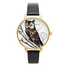 Buy Olivia Burton OB13CG02 Women's Owl Motif Leather Strap Watch, Black / Gold Online at johnlewis.com