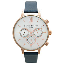 Buy Olivia Burton OB13CG03 Exclusive Women's Big Dial Leather Strap Chronograph Watch, Navy Online at johnlewis.com