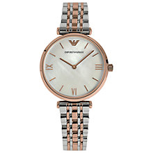 Buy Emporio Armani AR1683 Women's Gianni Mother of Pearl T-Bar Strap Watch, Rose Gold Online at johnlewis.com