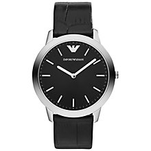 Buy Emporio Armani AR1741 Men's Dino Leather Strap Watch, Black Online at johnlewis.com