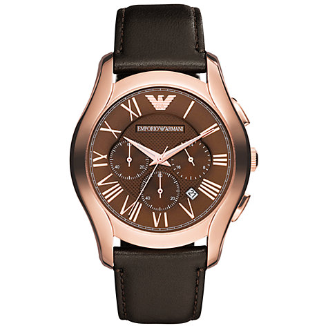 Buy Emporio Armani AR1701 Men's Valente Chronograph Leather Strap Watch, Rose Gold Online at johnlewis.com