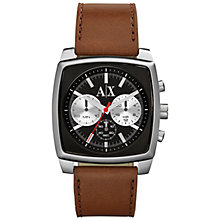 Buy Armani Exchange AX2251 Men's Smart Brown Leather Strap Watch Online at johnlewis.com