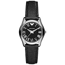Buy Emporio Armani AR1712 Women's Valente Mini Leather Strap Watch, Black Online at johnlewis.com