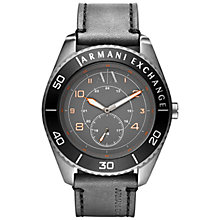 Buy Armani Exchange AX1266 Men's Stainless Steel Leather Strap Watch, Grey Online at johnlewis.com