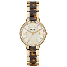 Buy Fossil ES3314 Women's Virginia Tortoiseshell Strap Watch, Gold Online at johnlewis.com