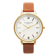 Buy Olivia Burton OB13MV04 Women's Big Numerals Dial Leather Strap Watch, Tan Online at johnlewis.com