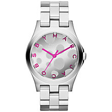 Buy Marc by Marc Jacobs MMB3266 Women's Polka Dial Stainless Steel Watch, Silver / Pink Online at johnlewis.com
