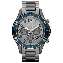 Buy Marc by Marc Jacobs MBM5028 Men's Rock Chronograph Watch, Grey / Navy Online at johnlewis.com