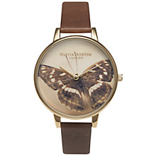 Buy Olivia Burton OB13WL011 Women's Butterfly Motif Leather Strap Watch, Brown Online at johnlewis.com