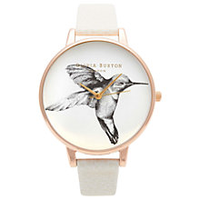 Buy Olivia Burton OB13AM06 Women's Animal Motifs Hummingbird Leather Strap Watch, Mink/White Online at johnlewis.com