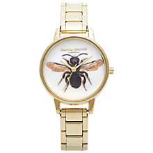 Buy Olivia Burton OB13BL02 Women's Bee Motif Stainless Steel Bracelet Strap Watch, Gold Online at johnlewis.com