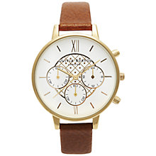 Buy Olivia Burton OB13CG02 Women's Check Dial Leather Strap Chronograph Watch, Tan Online at johnlewis.com