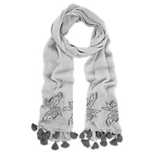 Buy Mint Velvet Tassel Embroidered Scarf, Grey Online at johnlewis.com