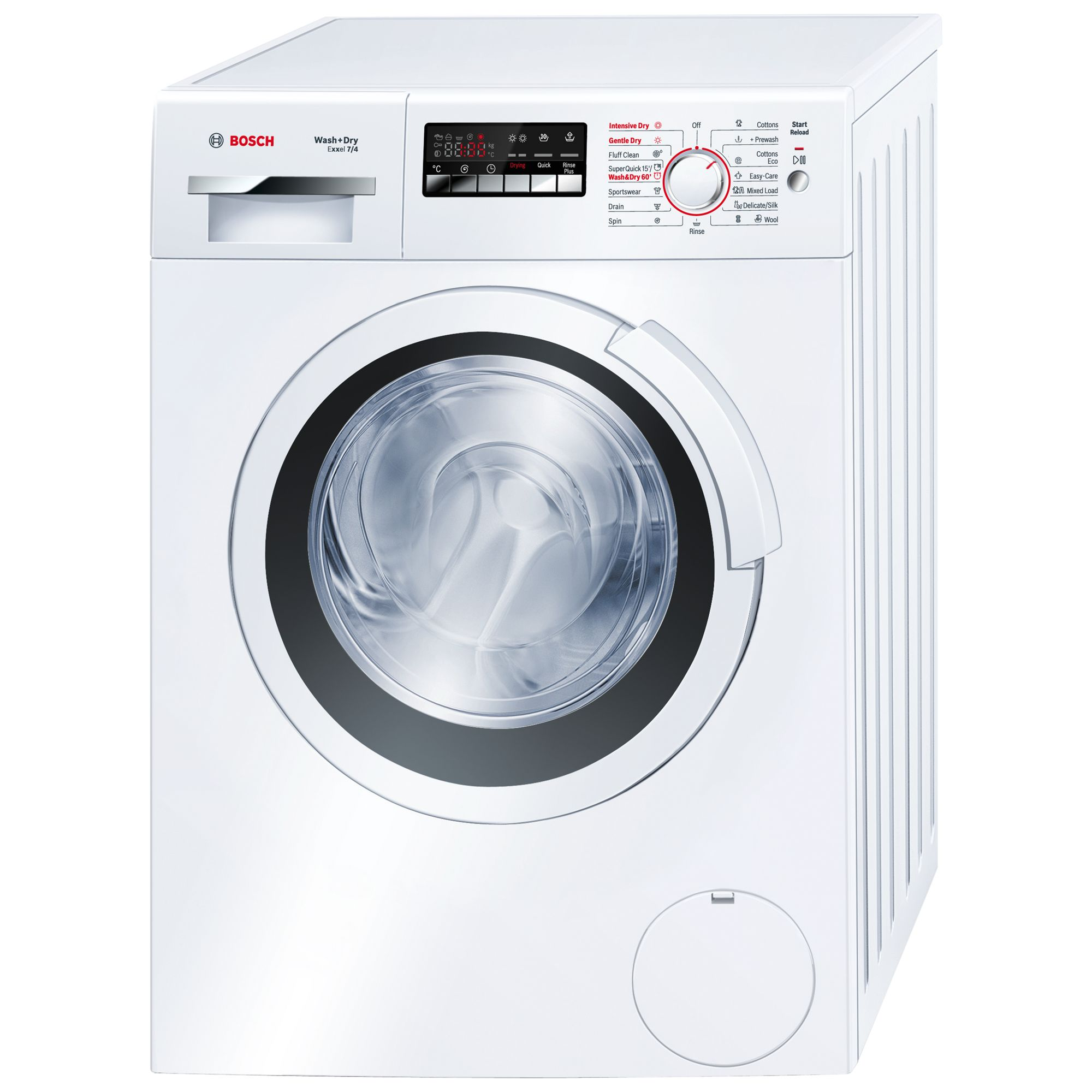 Bosch Exxcel WVH28360GB Washer Dryer, 7kg Wash/4kg Dry Load, B Energy Rating, 1400rpm Spin, White