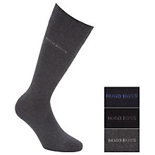 Buy Hugo Boss Plain Cotton Socks, Pack of 3, Grey/Black/Blue Online at johnlewis.com