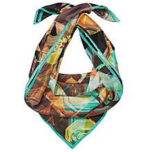 Buy Ted Baker Retro Print Silk Scarf, Turquoise/Black Online at johnlewis.com
