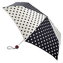 Buy Lulu Guinness Superslim Star Print Umbrella, Black/White Online at johnlewis.com