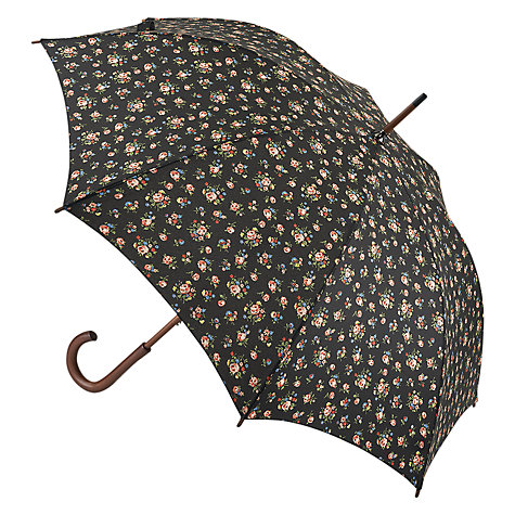 Buy Cath Kidston Kew Sprig Walking Umbrella, Black Multi Online at johnlewis.com