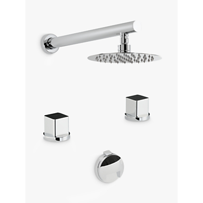 Abode Fervour Thermostatic Deck Mounted 2 Hole Bath Overflow Filler Kit with Wall Mounted Shower