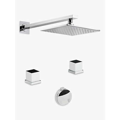 Abode Zeal Thermostatic Deck Mounted 2 Hole Bath Overflow Filler Kit with Wall Mounted Shower