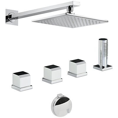 Abode Extase Thermostatic Deck Mounted Bath Overflow Filler Kit with Handshower and Wall Mounted Shower