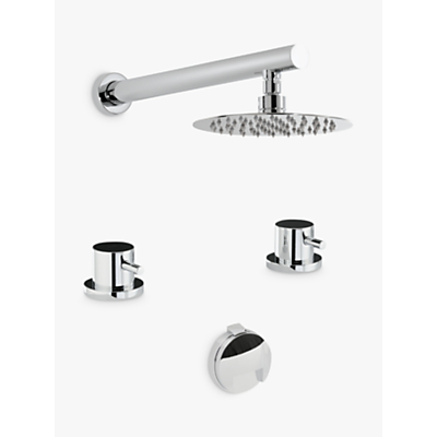Abode Harmonie Thermostatic Deck Mounted 2 Hole Bath Overflow Filler Kit with Wall Mounted Shower