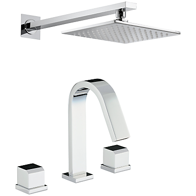 Abode Extase Thermostatic Deck Mounted 3 Hole Bath Mixer and Wall Mounted Shower