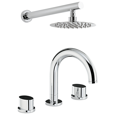 Abode Debut Thermostatic Deck Mounted 3 Hole Bath Mixer and Wall Mounted Shower