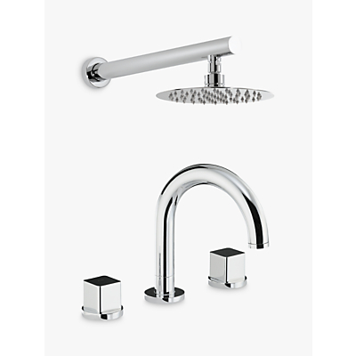 Abode Fervour Thermostatic Deck Mounted 3 Hole Bath Mixer Tap with Wall Mounted Shower