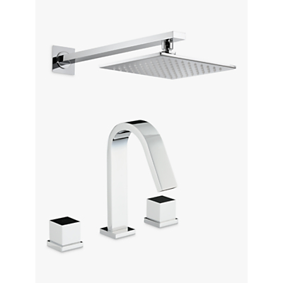 Abode Zeal Thermostatic Deck Mounted 3 Hole Bath Mixer Tap with Wall Mounted Shower
