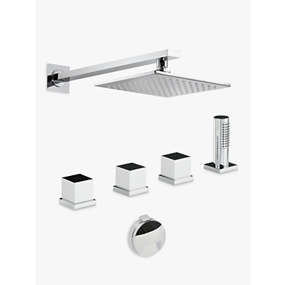 Abode Zeal Thermostatic Deck Mounted 4 Hole Bath Overflow Filler Kit with Wall Mounted Shower