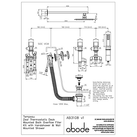 Buy Abode Zeal Thermostatic Deck Mounted 4 Hole Bath