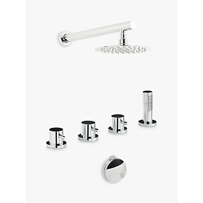 Abode Harmonie Thermostatic Deck Mounted 4 Hole Bath Overflow Filler Kit with Wall Mounted Shower