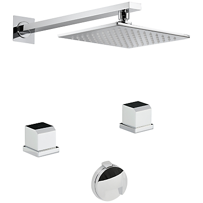 Abode Extase Thermostatic Deck Mounted 2 Hole Bath Overflow Filler Kit and Wall Mounted Shower