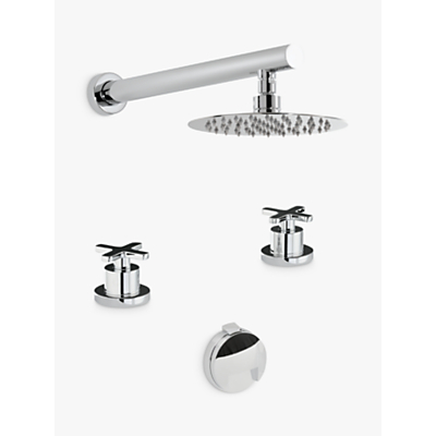 Abode Serenitie Thermostatic Deck Mounted 2 Hole Bath Overflow Filler Kit with Wall Mounted Shower