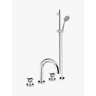 Abode Serenitie Thermostatic Deck Mounted 3 Hole Bath/Shower Mixer and Sliding Rail Kit