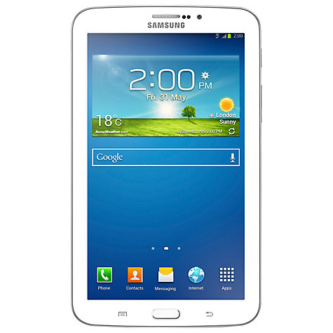 "Buy Samsung Galaxy Tab 3 7.0 Tablet, Marvell PXA, Android, 7"", Wi-Fi & 3G, 8GB, White Online at johnlewis.com"