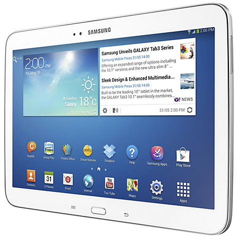 "Buy Samsung Galaxy Tab 3 10.1 Tablet, Intel Atom, Android, 10.1"", Wi-Fi & 4G LTE, 16GB Online at johnlewis.com"